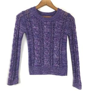 Justice Purple Cable Knit Sweater